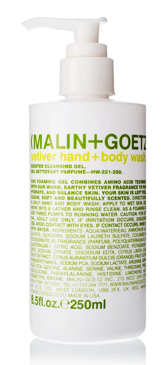Malin+Goetz Гель-мыло для душа и рук Ветивер 250 млMG250Пенящийся гель для рук с ароматом туалетной воды Ветивер мягко и эффективно очищает и увлажняет кожу. Гель сочетает свежесть аромата и очищающие ингредиенты на основе аминокислот, обладает поддерживающим баланс действием, подходит для любого типа кожи. Полностью смывается водой, не вызывает раздражения, сухости или повреждений. Снижает эпидермальный стресс, вызываемый мытьем рук.