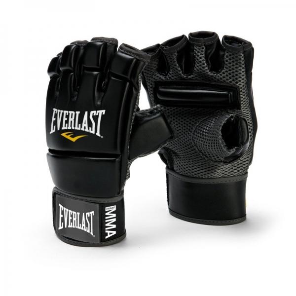 Перчатки для единоборств Everlast MMA Kickboxing4402BИзготовленные по оригинальному дизайну перчатки MMA Kickboxing Gloves от Everlast обеспечивают повышенную защиту пальцев и костяшек при выполнении тренировок. Удлиненная манжета надежно фиксируется на запястье с помощью застежки на липучке, позволяя подгонять перчатку под ваш размер. Внутренняя поверхность выполнена из сетчатой ткани, которая благодаря технологиям EverFresh™ и EverCool™ обеспечивает эффективную вентиляцию. Дополнительный комфорт достигается за счет специальной планки, расположенной на ладони. Профессиональные перчатки MMA Kickboxing Gloves для кикбоксинга изготовлены из первоклассного кожзаменителя, что гарантирует износостойкость и долговечность. Они оптимально подходят для работы с тайскими подушками и тяжелыми мешками.
