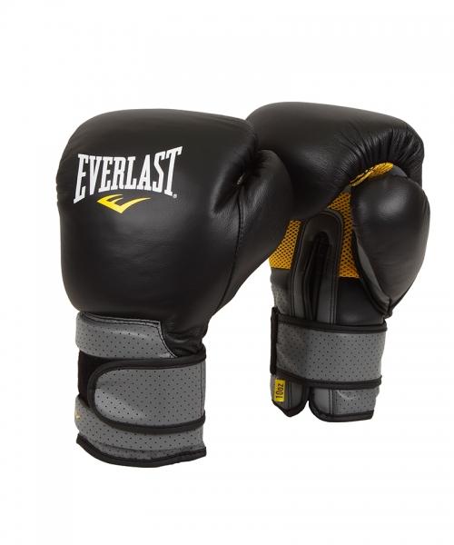 """Боксерские перчатки Everlast """"Pro Leather Strap"""", цвет: черный. Вес 12 унций 691201"""