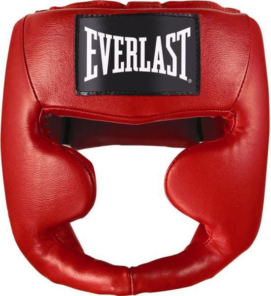Шлем боксерский Everlast Martial Arts Leather Full Face, цвет: красный. Размер S/M7620SMUТренировочный шлем Everlast Martial Arts Leather Full необходим для активных тренировок и спаррингов. Его дизайн специально разработан для полной защиты головы и лица, максимально прикрывая зоны щек, лба и подбородка. Легкий и прочный, он спокойно подгоняется под необходимый размер благодаря удобным застежкам. Шлем изготовлен из качественной синтетической кожи, что обеспечивает солидный запас прочности и долговечности.