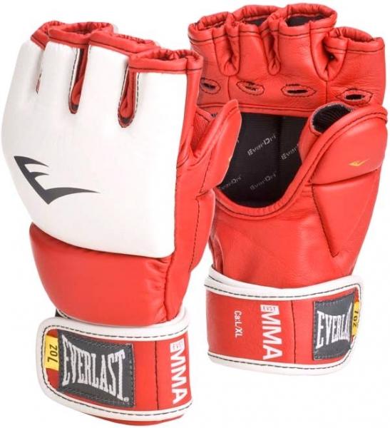 Перчатки тренировочные Everlast MMA Grappling, цвет: красный. Размер L/XL7684RLXLUТренировочные перчатки для отработки захватов. Ключевые особенности: Кожа высшего качества вкупе с превосходным дизайном гарантируют долговечность и функциональность. Идеально повторяет все анатомические изгибы кисти Защита большого пальца состоит из двух секций для большей свободы, швы на ладони значительно усилены. Обмотки с застежкой на липучке позволяют подогнать перчатки по вашей руке, а также обеспечивают максимальную фиксацию запястья.