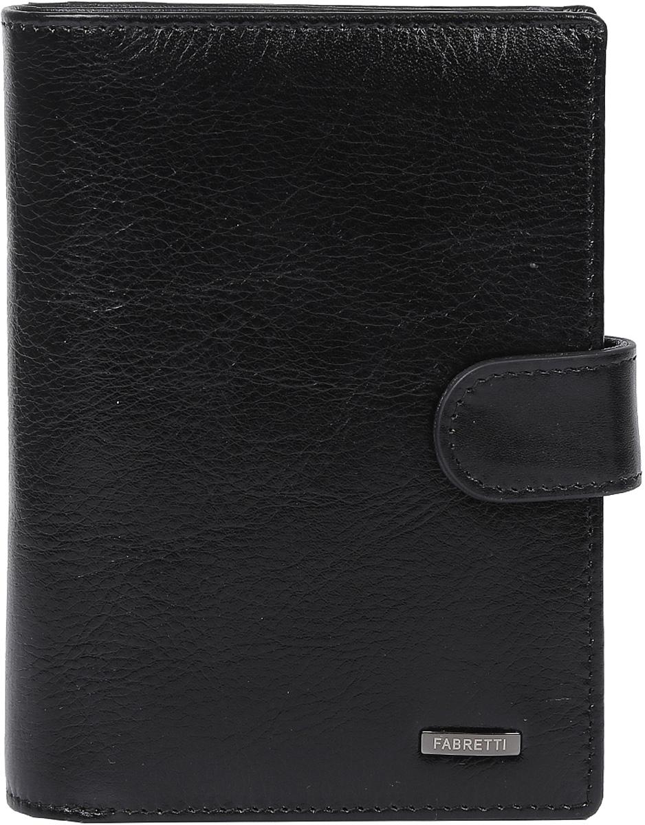 Кошелек мужской Fabretti, цвет: черный. 53001-2-black53001-2-blackКлассический мужской кошелек от итальянского бренда Fabretti выполнен из натуральной кожи. Внутри модели имеются два открытых отдела для купюр, отделение для паспорта и вкладыши для документов. Вы с легкостью сможете расположить 10 дисконтных и кредитных карточек, а также мелкие деньги с помощью удобного кармана для мелочи. Кошелек застегивается на хлястик с кнопкой.
