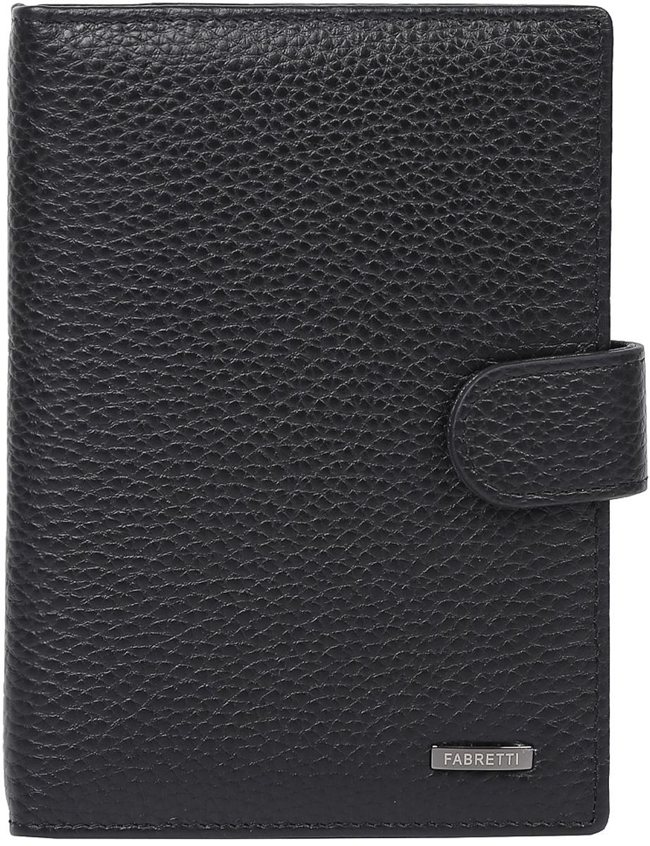Обложка для документов мужская Fabretti, цвет: черный. 53003/1-black53003/1-blackМужская обложка для документов Fabretti выполнена из натуральной кожи. Изделие раскладывается пополам и закрывается на хлястик с кнопкой. Обложка содержит съемный блок из шести прозрачных файлов из мягкого пластика, один из которых формата А5, два боковых прозрачных кармана и отделение для паспорта с тремя боковыми карманами и пятью кармашками для пластиковых карт, один из которых с прозрачным окошком.