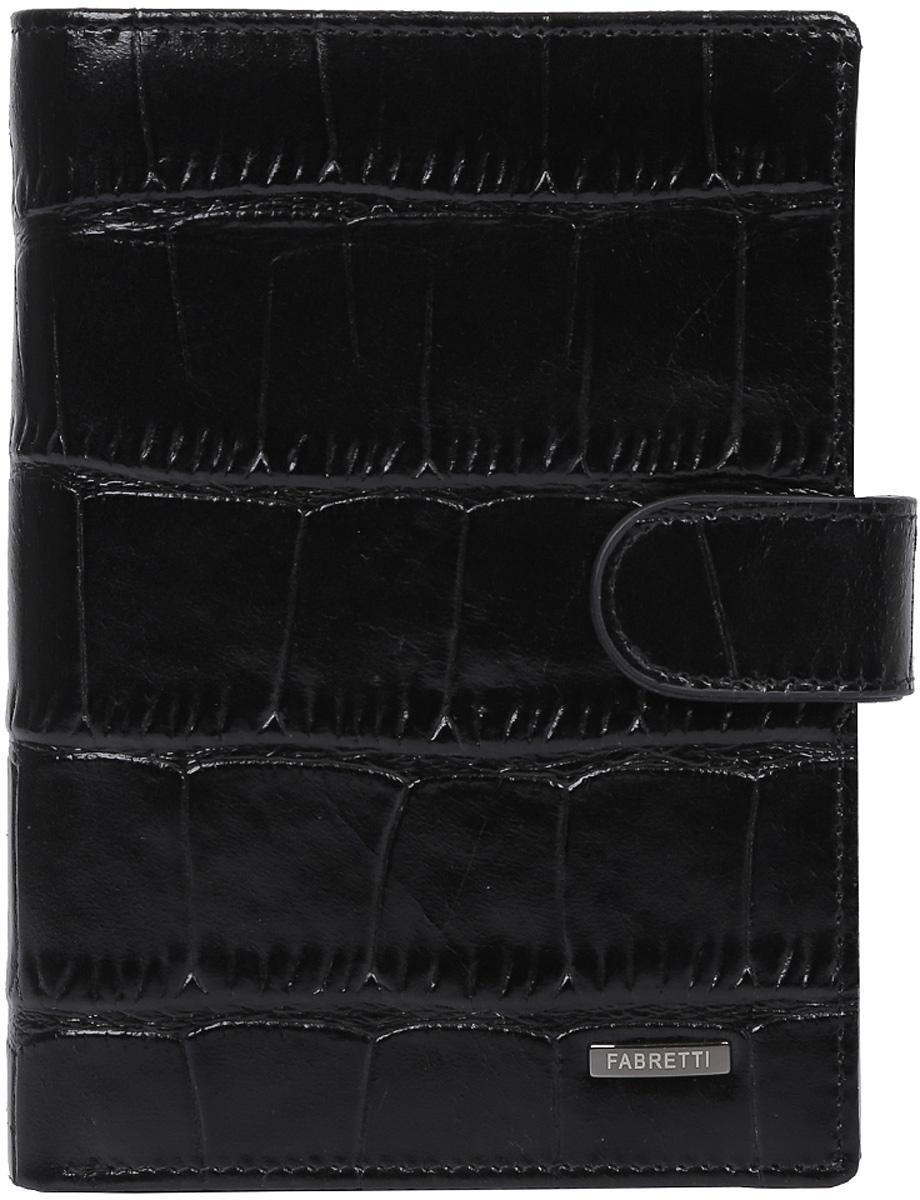 Кошелек мужской Fabretti, цвет: черный. 54022-black cocco54022-black coccoМужской кошелек от итальянского бренда Fabretti выполнен из натуральной кожи с изысканным тиснением под рептилию. Внутри модели находятся два отделения для купюр, одно из которых закрывается на молнию. Вы сможете разместить свой паспорт и различные документы с помощью удобного вкладыша, а также 10 кредитных и дисконтных карт. Внутри имеется удобный карман для мелочи на кнопке. Кошелек закрывается клапаном на металлической кнопке.
