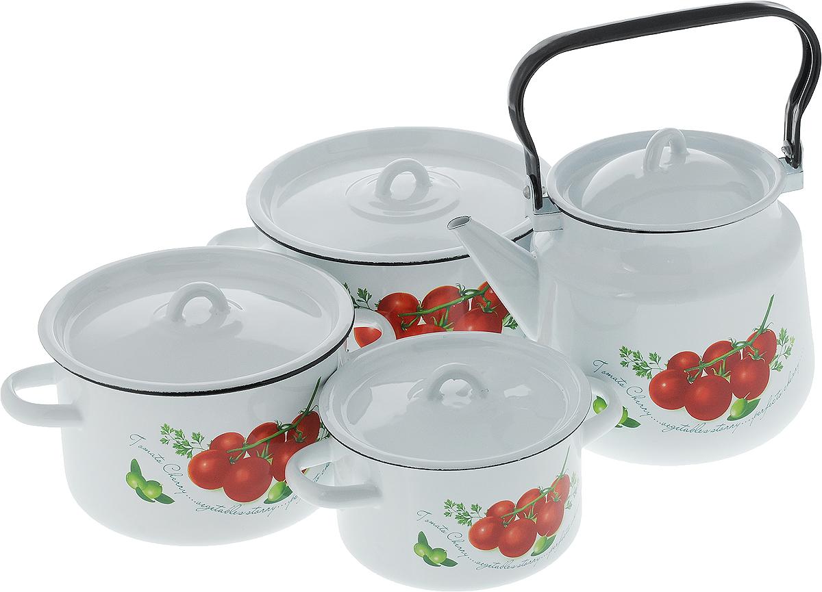 Набор посуды СтальЭмаль Томаты, 8 предметов1с142/1Набор посуды СтальЭмаль Томаты, состоящий из трех кастрюль и чайника с крышками, изготовлен из высококачественной стали с эмалированным покрытием и оформлен изображением томатов. Эмалевое покрытие, являясь стекольной массой, не вызывает аллергии и надежно защищает пищу от контакта с металлом. Внутренняя поверхность идеально ровная, что значительно облегчает мытье. Покрытие устойчиво к механическому воздействию, не царапается и не сходит, а стальная основа практически не подвержена механической деформации, благодаря чему срок эксплуатации увеличивается. Кастрюли и чайник оснащены крышками, выполненными из стали с эмалированным покрытием. Крышки плотно прилегают к краям кастрюль, предотвращая проливание жидкости и сохраняя аромат блюд, и имеют удобные пластиковые ручки. Подходят для всех типов плит, включая индукционные. Можно мыть в посудомоечной машине. Высота стенок кастрюль: 9,5 см, 11,5 см, 12,5 см. Диаметр кастрюль (по...
