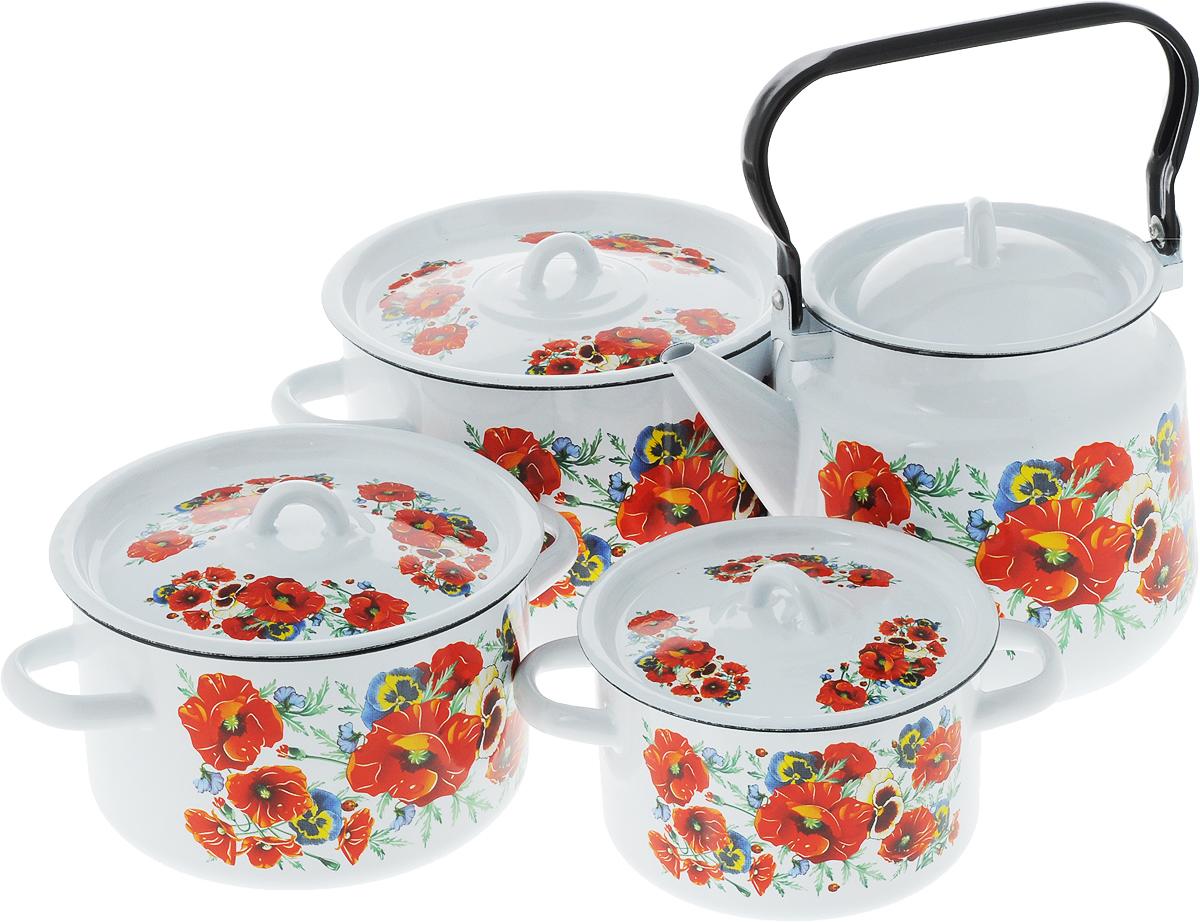 Набор посуды СтальЭмаль Маки мечта, 8 предметов1с142/1Набор посуды СтальЭмаль Маки мечта, состоящий из трех кастрюль и чайника с крышками, изготовлен из высококачественной стали с эмалированным покрытием и оформлен изображением маков. Эмалевое покрытие, являясь стекольной массой, не вызывает аллергии и надежно защищает пищу от контакта с металлом. Внутренняя поверхность идеально ровная, что значительно облегчает мытье. Покрытие устойчиво к механическому воздействию, не царапается и не сходит, а стальная основа практически не подвержена механической деформации, благодаря чему срок эксплуатации увеличивается. Кастрюли и чайник оснащены крышками, выполненными из стали с эмалированным покрытием. Чайник имеет удобную стальную ручку. Подходят для всех типов плит, включая индукционные. Можно мыть в посудомоечной машине. Высота стенок кастрюль: 9,5 см, 11,5 см, 14,5 см. Диаметр кастрюль (по верхнему краю): 16 см, 19 см, 21,5 см. Ширина кастрюль (с учетом ручек): 21 см, 25 см, 28 см. Объем кастрюль:...