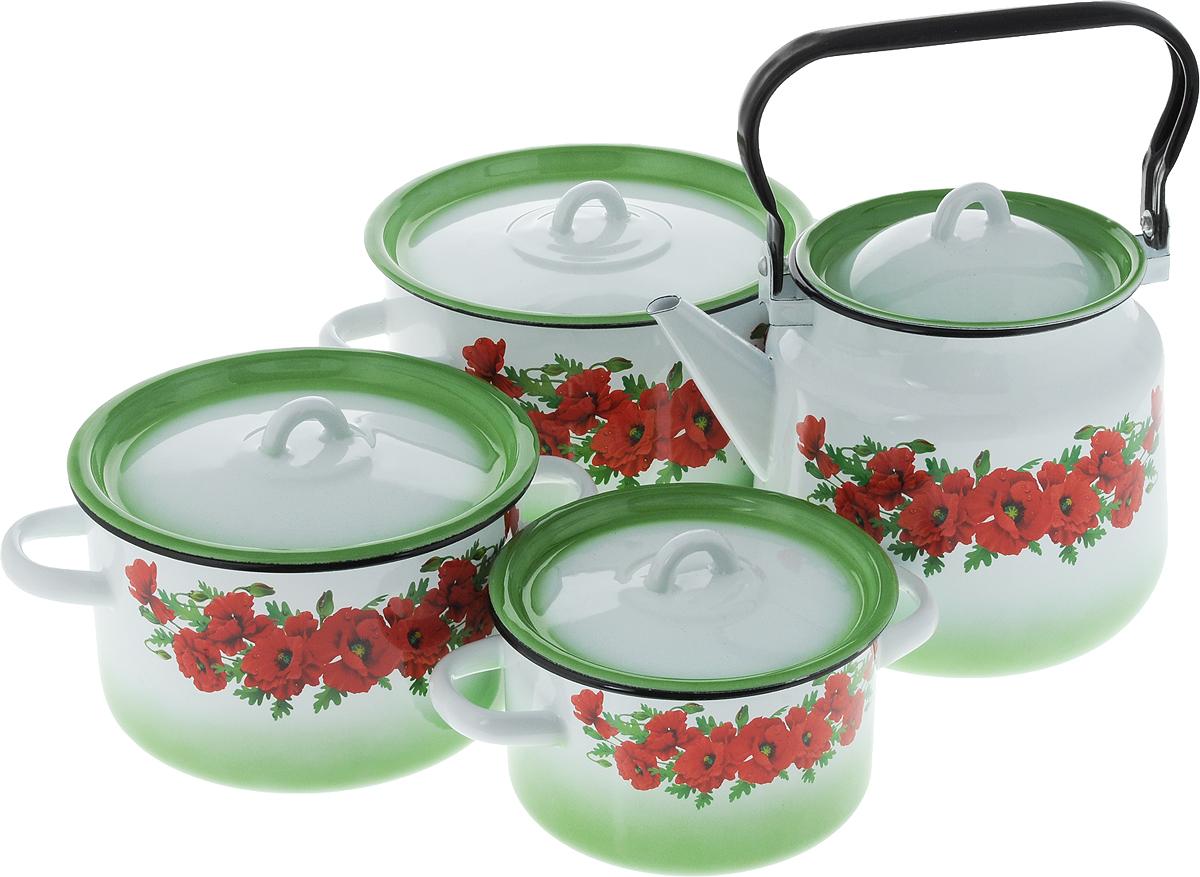 Набор посуды СтальЭмаль Восточный мак, 8 предметов1с142/1Набор посуды СтальЭмаль Восточный мак, состоящий из трех кастрюль и чайника с крышками, изготовлен из высококачественной стали с эмалированным покрытием и оформлен изображением маков. Эмалевое покрытие, являясь стекольной массой, не вызывает аллергии и надежно защищает пищу от контакта с металлом. Внутренняя поверхность идеально ровная, что значительно облегчает мытье. Покрытие устойчиво к механическому воздействию, не царапается и не сходит, а стальная основа практически не подвержена механической деформации, благодаря чему срок эксплуатации увеличивается. Кастрюли и чайник оснащены крышками, выполненными из стали с эмалированным покрытием. Чайник имеет удобную стальную ручку. Подходят для всех типов плит, включая индукционные. Можно мыть в посудомоечной машине. Высота стенок кастрюль: 9,5 см, 11,5 см, 14,5 см. Диаметр кастрюль (по верхнему краю): 16 см, 19 см, 21,5 см. Ширина кастрюль (с учетом ручек): 21 см, 25 см, 28 см. Объем кастрюль:...