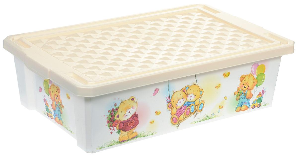 Little Angel Ящик для игрушек X-Box Bears на колесах 30 л цвет слоновая кость № 2 LA1024IR/цветы/шары