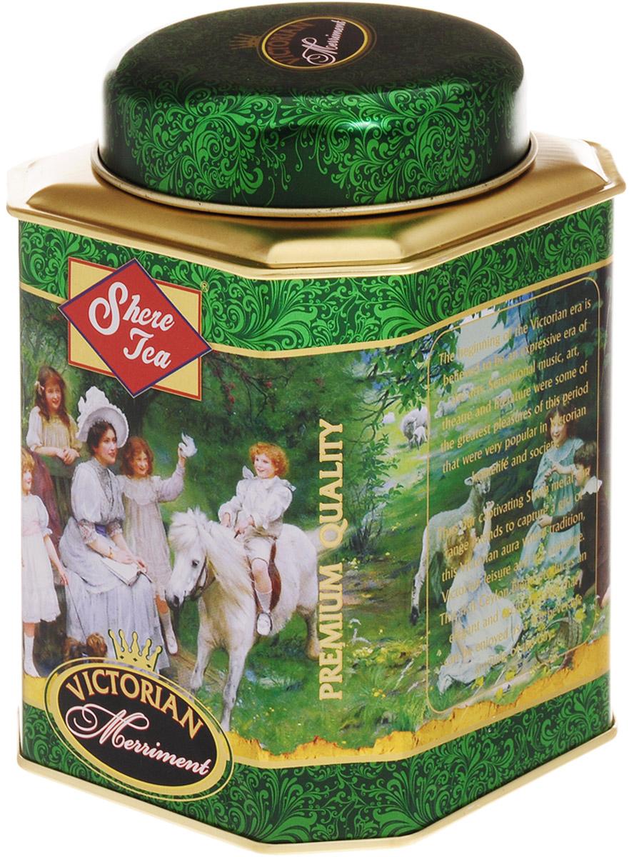 Shere Tea Викторианское веселье чай черный листовой, 250 г4791014009788Стандарт РЕКОЕ - ровный крупнолистовой чай, скрученный в форме мелкой гальки. Этот чай состоит из более коротких и более взрослых, чем OP листьев. В сбор идут, как правило, вторые листья от почки. Поэтому в этом чае меньше содержание кофеина, чем в ОР, но зато он имеет более выраженную горчинку во вкусе, что нравится многим любителям чая. Чем более взрослый лист, тем в нем больше танина и дубильных веществ, которые и дают эту самую горчинку. Чай имеет яркий, прозрачный и интенсивный настой. Приятный с терпкостью вкус с хорошо выраженным ароматом. Знак в виде Льва с 17 пятнышками на шкуре - это гарантия Цейлонского Чайного Бюро на соответствие чая высокому стандарту качества, установленному Правительством и упакованному только в пределах Шри-Ланки.