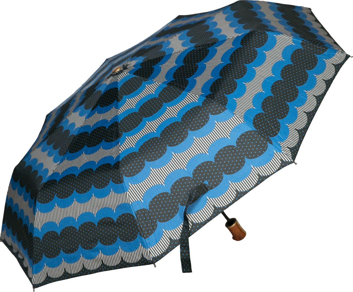 Зонт женский Mitya Veselkov, цвет: синий. ZONT2-16ZONT2-16Прекрасный и надежный автоматический зонт Mitya Veselkov укроет от дождя и станет стильным аксессуаром, дополняющим Ваш образ. Ширина купола 100 см.