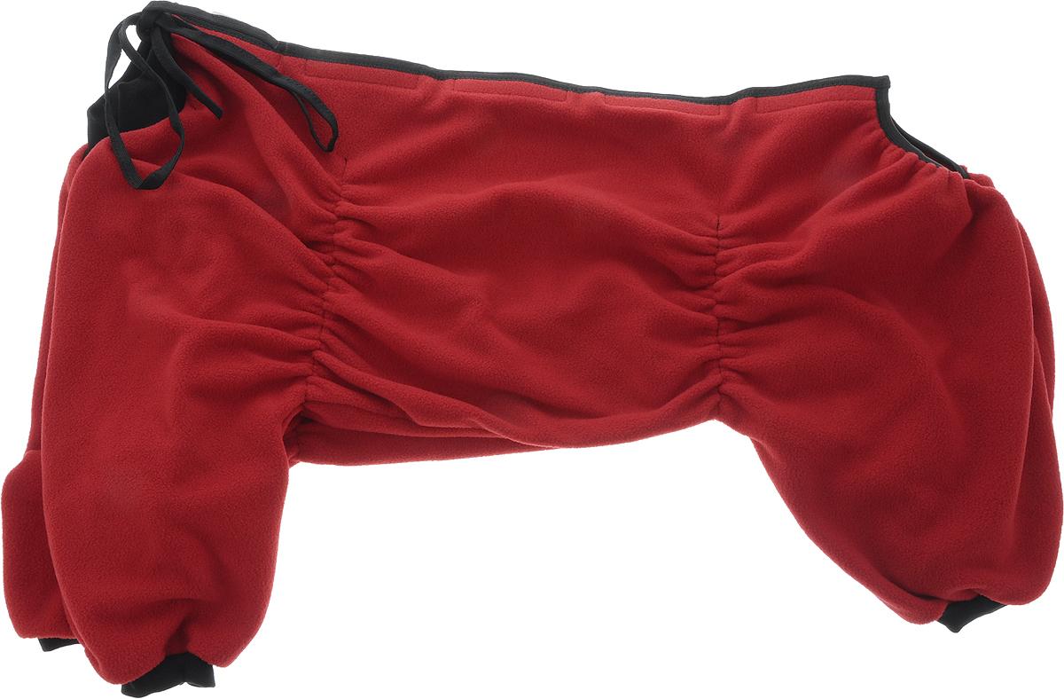 Комбинезон для собак OSSO Fashion, для девочки, цвет: бордовый. Размер 55Кф-1019Комбинезон для собак OSSO Fashion выполнен из флиса. Комфортная посадка по корпусу достигается за счет резинок-утяжек под грудью и животом. На воротнике имеются завязки, для дополнительной фиксации. Можно носить самостоятельно и как поддевку под комбинезон для собак. Изделие отлично стирается, быстро сохнет. Длина спинки: 55 см. Объем груди: 66-90 см.
