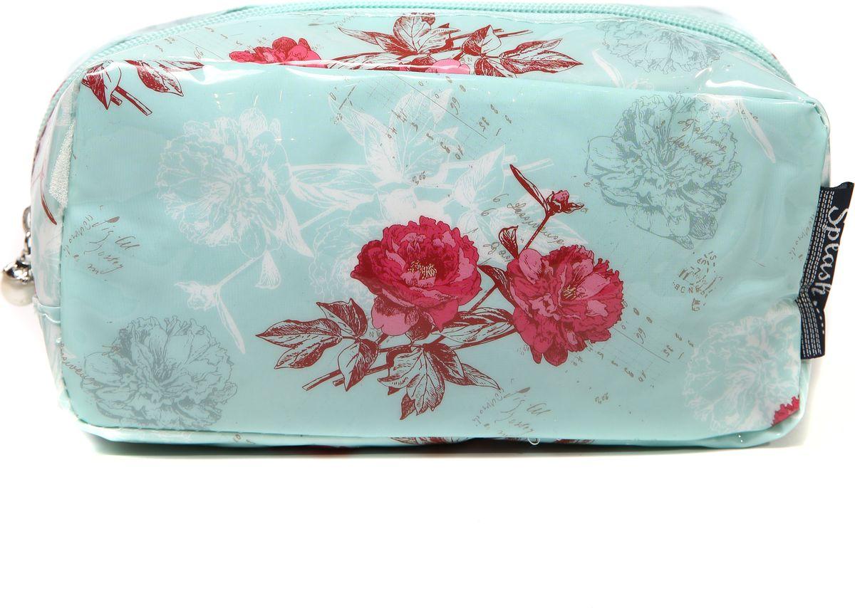 Косметичка женская Mitya Veselkov, цвет: белый, мятный. KOSM10-FLOWERS-BLUE-simKOSM10-FLOWERS-BLUE-sim