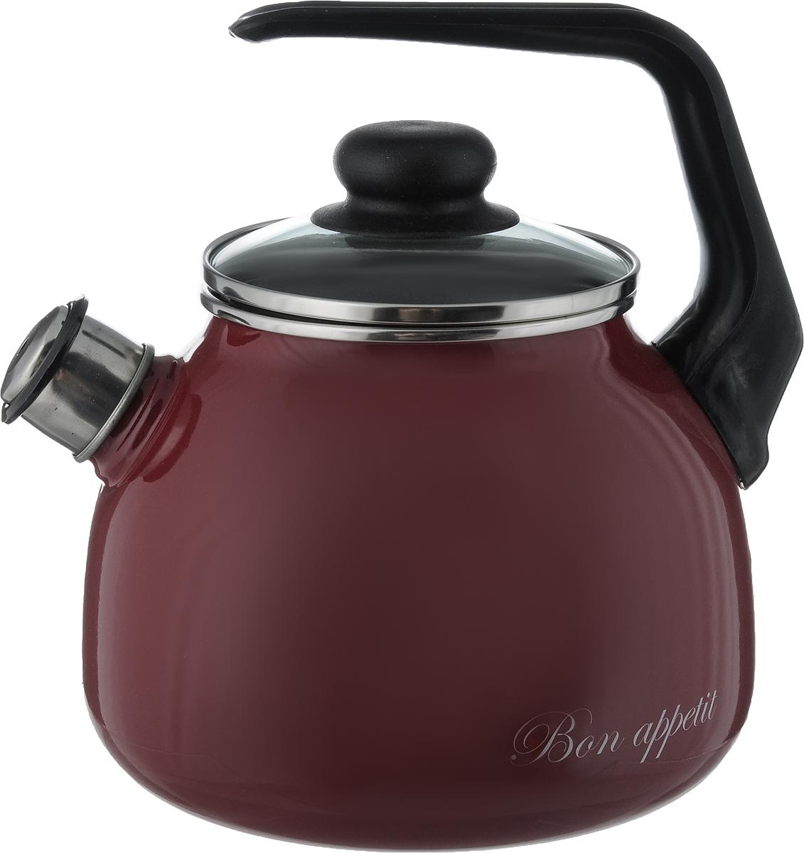 Чайник Vitross Bon Appetit, со свистком, цвет: черный, вишневый, 3 л1RС12Чайник Vitross Bon Appetit изготовлен из высококачественной нержавеющей стали с эмалированным покрытием. Нержавеющая сталь обладает высокой устойчивостью к коррозии, не вступает в реакцию с холодными и горячими продуктами и полностью сохраняет их вкусовые качества. Особая конструкция дна способствует высокой теплопроводности и равномерному распределению тепла. Чайник оснащен удобной ручкой. Носик чайника имеет снимающийся свисток, звуковой сигнал которого подскажет, когда закипит вода. Подходит для всех типов плит, включая индукционные. Можно мыть в посудомоечной машине. Диаметр чайника (по верхнему краю): 12,5 см. Высота чайника (без учета ручки и крышки): 14 см. Высота чайника (с учетом ручки): 24 см.