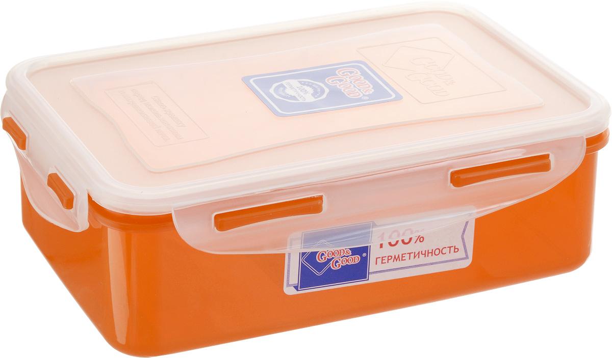 Контейнер пищевой Good&Good, цвет: прозрачный, оранжевый, 1,1 лB/COL 3-1Прямоугольный контейнер Good&Good изготовлен из высококачественного полипропилена и предназначен для хранения любых пищевых продуктов. Благодаря особым технологиям изготовления контейнер в течение времени службы не меняет цвет и не пропитывается запахами. Крышка с силиконовой вставкой герметично защелкивается специальным механизмом. Контейнер Good&Good удобен для ежедневного использования в быту. Можно мыть в посудомоечной машине и использовать в микроволновой печи. Размер контейнера (с учетом крышки): 20 х 13,5 х 6,5 см.