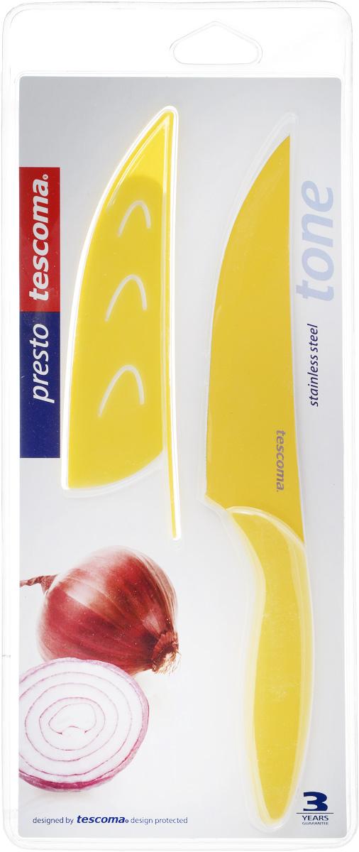 Нож универсальный Tescoma Presto, с чехлом, цвет: желтый, длина лезвия 13 см863088_желтыйКухонный нож с непристающим лезвием Tescoma Presto, цвет: желтый Универсальный нож Tescoma Presto предназначен для нарезки мяса, овощей, фруктов и других продуктов. Лезвие выполнено из высококачественной нержавеющей стали с антиадгезивным покрытием, а ручка из прочного пластика. Продукты не прилипают к лезвию. Изделие легко чиститься. В комплект входит защитный чехол для бережного хранения. Можно мыть в посудомоечной машине, не рекомендуется использовать металлические губки и абразивные чистящие средства. Общая длина ножа: 22,8 см.