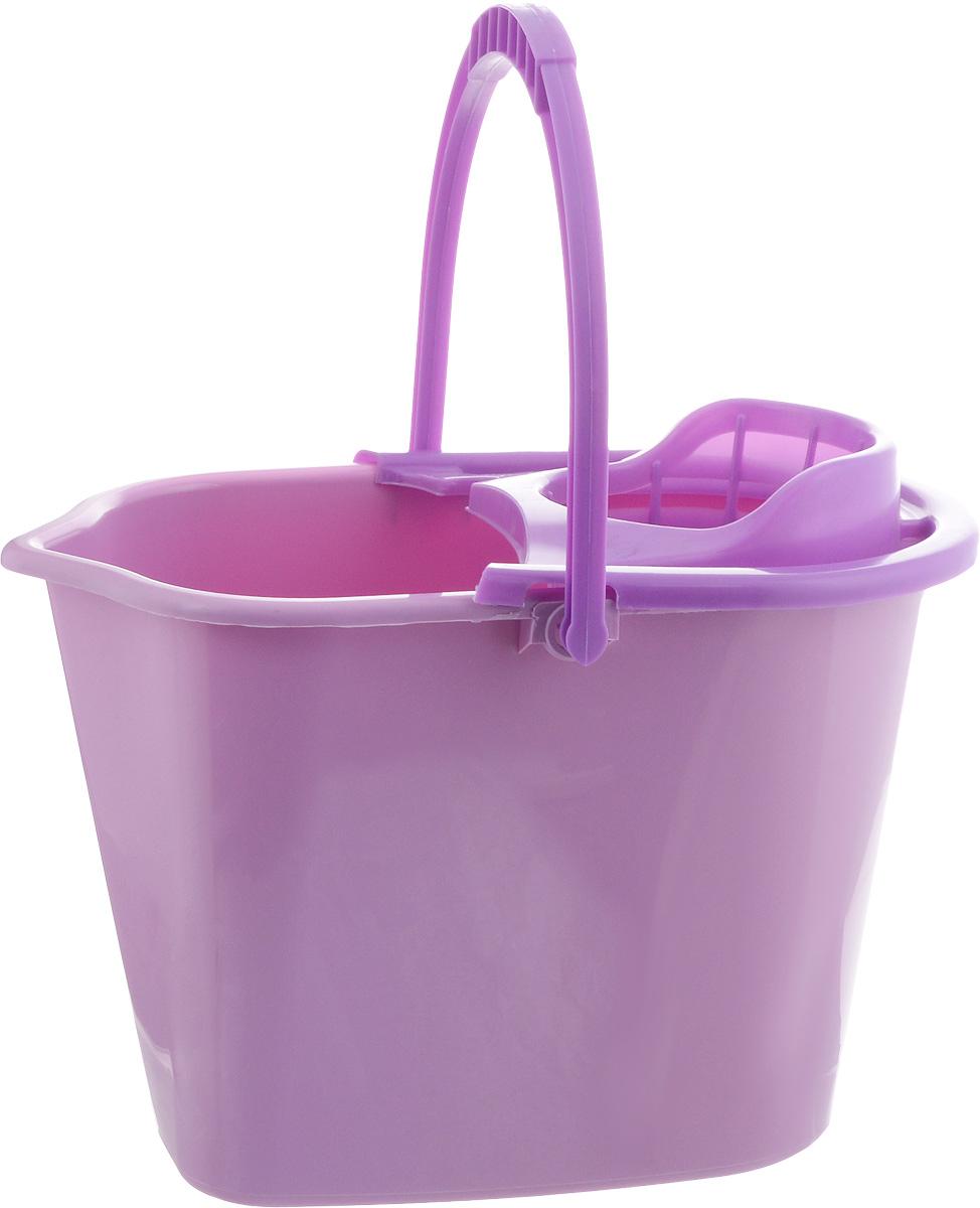 Ведро для уборки York, с насадкой для отжима швабры, цвет: сиреневый, фиолетовый, 10 л7002_сиреневыйВедро York, изготовленное из полипропилена, порадует практичных хозяек. Изделие снабжено специальной насадкой, которая обеспечивает интенсивный отжим ленточных швабр. Это значительно уменьшает физические нагрузки при мытье полов. Насадка надежно крепится на ведро и также легко снимается, позволяя хранить ее отдельно. Для удобного использования ведро оснащено эргономичной ручкой. Размер ведра (по верхнему краю): 35 х 22 см. Высота ведра: 24 см.
