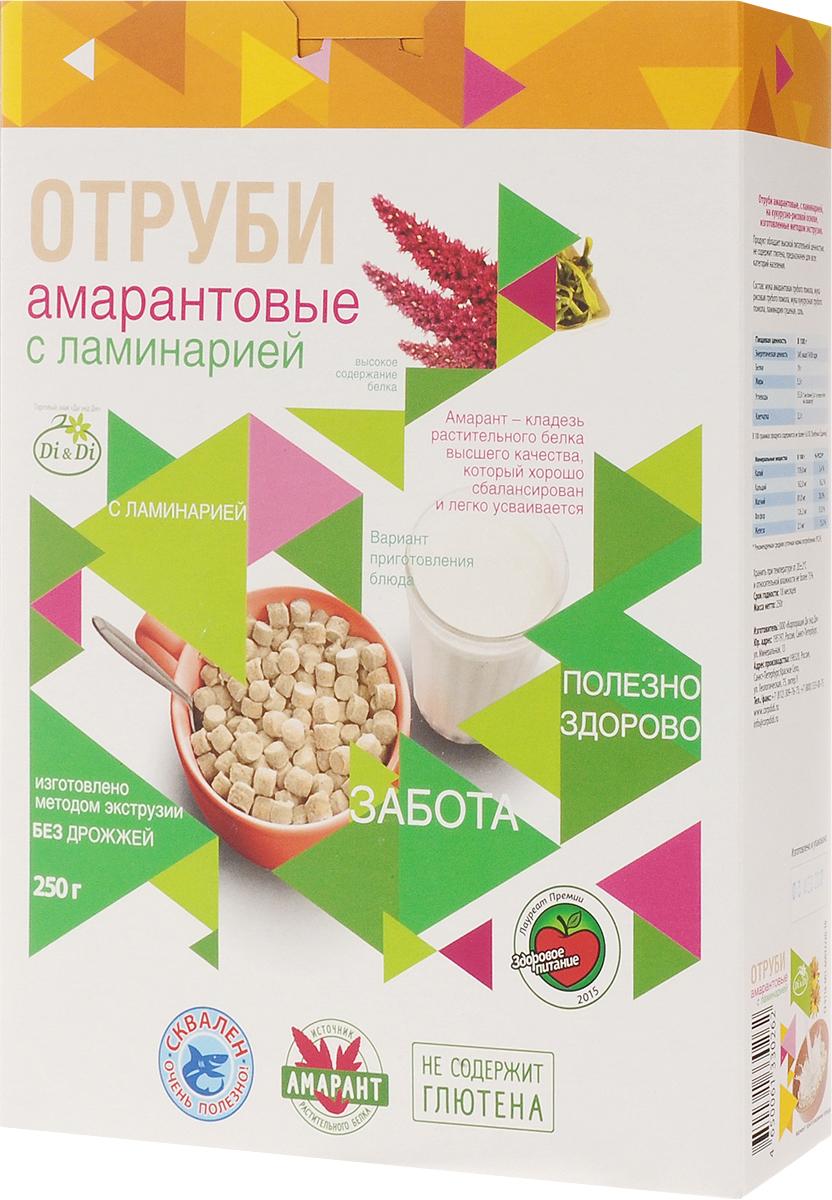 Di & Di отруби амарантовые с ламинарией, 250 г4650061330262Отруби из амарантовой муки - это новый продукт здорового питания. Амарант - уникальное растение, которое названо ООН продуктом 21 века. Амарант содержит в полтора раза больше (до 17%), чем в пшенице, в три раза клетчатки (до 7%), в четыре раза - минеральных веществ (кальций, железо, фосфор, калий и другие). Амарант - кладезь сбалансированного и легко усвояемого растительного белка, витаминов, полинасыщенных жирных кислот, омега-3 и омега-6, холина, а так же триптофана, способствующего выработке гормона радости - серотонина. Отруби из амарантовой муки обладают высокой питательной ценностью, не содержат глютен и являются полноценным продуктом функционального питания.