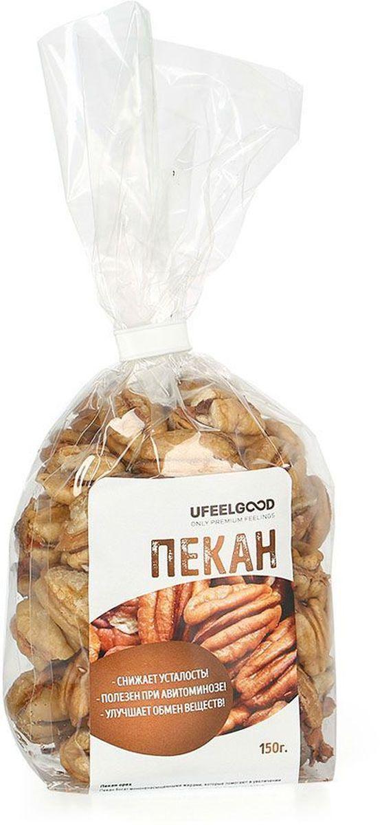 UFEELGOOD Пекан орех, 150 г1017Пекан богат мононенасыщенными жирами, которые помогают в увеличении уровня так называемого хорошего холестерина и снижении уровня плохого. Данный продукт употребляют как сырым, так и жареным или сушеным. Также его добавляют в другие блюда. В Америке очень распространены различные виды сладостей, десертов, в состав которых он входит. Также пекан - любимец ценителей орехов по всему миру, и не зря. Мало того, что орехи пекан очень вкусные, они также содержат питательные вещества, которые делают их идеальной закуской для детей и взрослых.