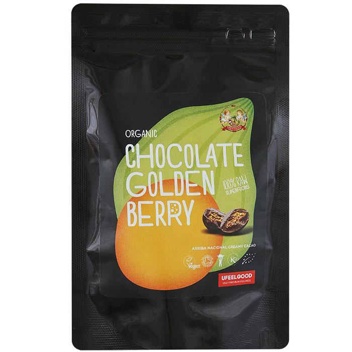 UFEELGOOD Organic Chocolate Golden Berry физалис в сыром шоколаде, 50 г4680016092129Ягоды физалиса пользуются большой популярностью во всем мире, а сочетание кисло-сладкого вкуса ягод с нежным шоколадом и щепоткой ванили добавило им еще больше поклонников. Продукт можно употреблять как самостоятельное блюдо, а также добавлять в выпечку, различные смузи, кашу, творог. Золотые ягоды в шоколаде станут отличным перекусом.