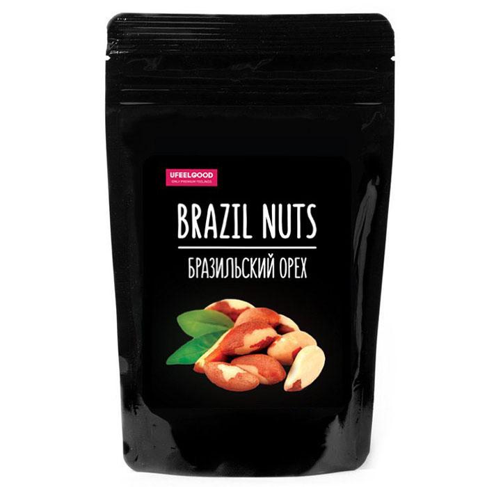 UFEELGOOD Brazil Nuts базильский орех очищенный, 90 г457Бразильский орех содержит невероятно большое количество питательных веществ – протеин, клетчатку, селен, магний, фосфор и тиамин. В нем также значительный запас ниацина, витамина Е, В6, кальция, железа, калия, цинка и меди. Бразильский орех - хороший источник аргинина (аминокислоты, которая способствует свертываемости крови) и флавоноидов – важный антиокислитель, а также профилактический элемент от сердечно сосудистых и раковых заболеваний.