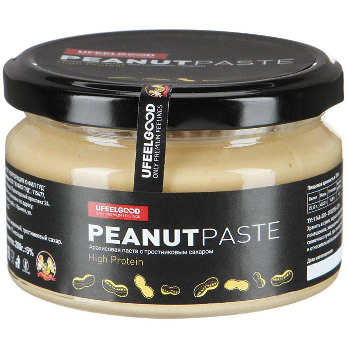 UFEELGOOD Арахисовая паста с тростниковым сахаром, 200 г589Преимущества арахисовой пасты с тростниковым сахаром в том, что она не содержит в своем составе лишних ингредиентов. Ведь зачастую другие производители добавляют в состав растительные масла (хлопковое, рапсовое, соевое, пальмовое и(или) иные) и вводят в композицию эмульгатор. Очень часто в роли эмульгатора выступает соевый лецитин. В связи с этим продукт имеет свойство немного расслаиваться. Это является признаком того, что продукт не эмульгирован и требует перемешивания перед употреблением.