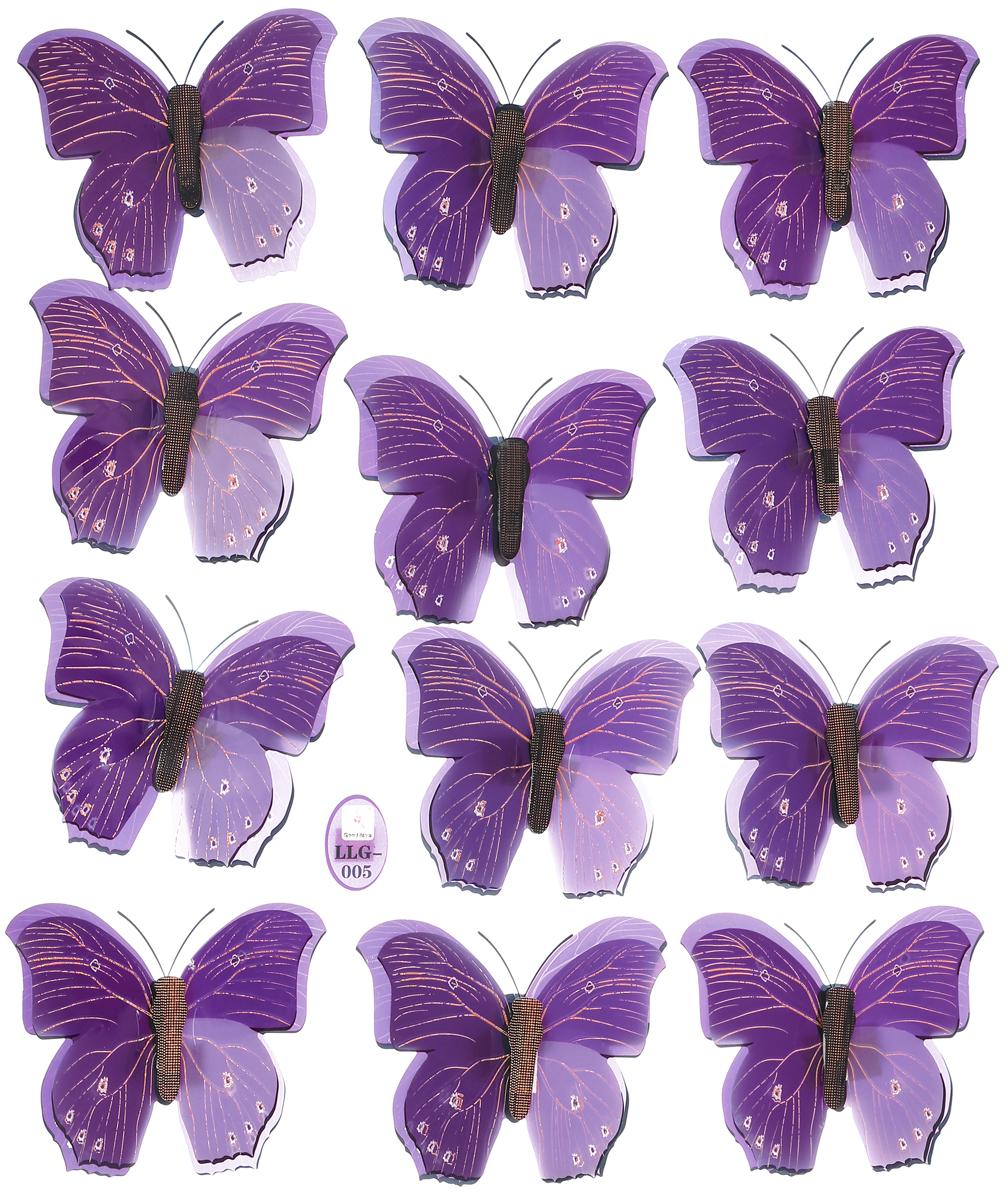 Room Decor Наклейка интерьерная 5D Полет бабочек цвет фиолетовый 12 шт