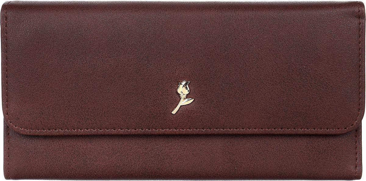 Кошелек женский Leighton, цвет: коричневый. D-22D-22 brownСтильный женский кошелек Leighton выполнен из искусственной кожи и закрывается на кнопку. Подкладка кошелька изготовлена из полиэстера. Изделие содержит три отделения для купюр, карман для мелочи на молнии, один потайной карман, четыре кармана для пластиковых карт.