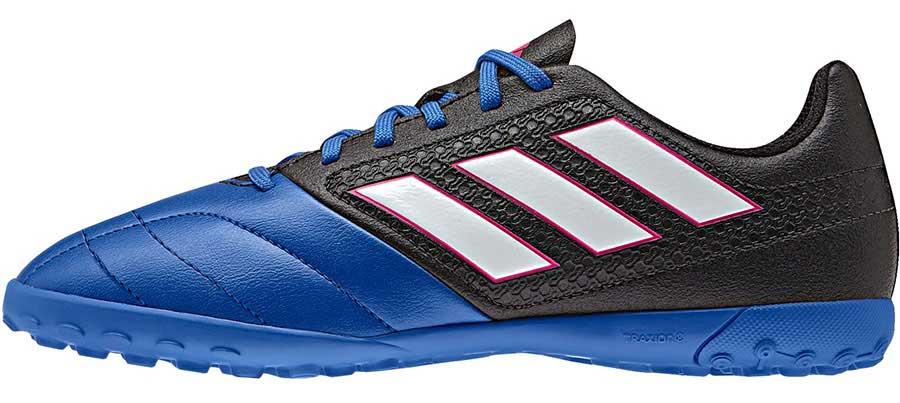 Бутсы для мальчика adidas Ace 17.4 tf j, цвет: синий, черный, белый. BA9247. Размер 4,5 (36,5)BA9247Бутсы для мальчика Adidas ACE 17.4 TF J с верхом из текстиля, полимера и резины. Легкий и гибкий верх Control Feel повторяет форму стопы для абсолютного контроля мяча. Классическая шнуровка фиксирует модель на стопе. Стелька, выполненная из мягкого текстиля, обеспечивает комфорт и отличную амортизацию. Подошва с шипами гарантирует отличное сцепление с покрытием, технология Total Control предназначена для маневренности и превосходной устойчивости на твердых покрытиях, искусственный газон с коротким синтетическим ворсом.