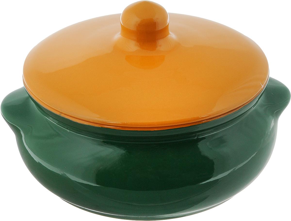 Горшок для запекания Борисовская керамика Радуга, с крышкой, цвет: зеленый, желтый, 700 млРАД00000380_зеленый, желтыйГоршок для запекания Борисовская керамика Радуга, с крышкой, цвет: зеленый, желтый, 700 мл
