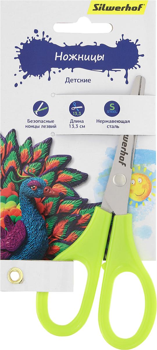 Silwerhof Ножницы детские Пластилиновая коллекция цвет салатовый 13,3 см453068_салатовыйДетские ножницы Silwerhof Пластилиновая коллекция прекрасно подойдут для детского творчества. Лезвия выполнены из высокоуглеродистой стали с закругленными концами, что делает процесс работы с ними безопасным для ребенка. Благодаря эргономичной форме пластиковых ручек, модель отлично ложится как в детскую, так и во взрослую руку. Ножницы хорошо справляются с резкой бумаги, картона и станут незаменимым помощником в процессе создания аппликаций и других поделок. Предназначены для детей от трех лет.