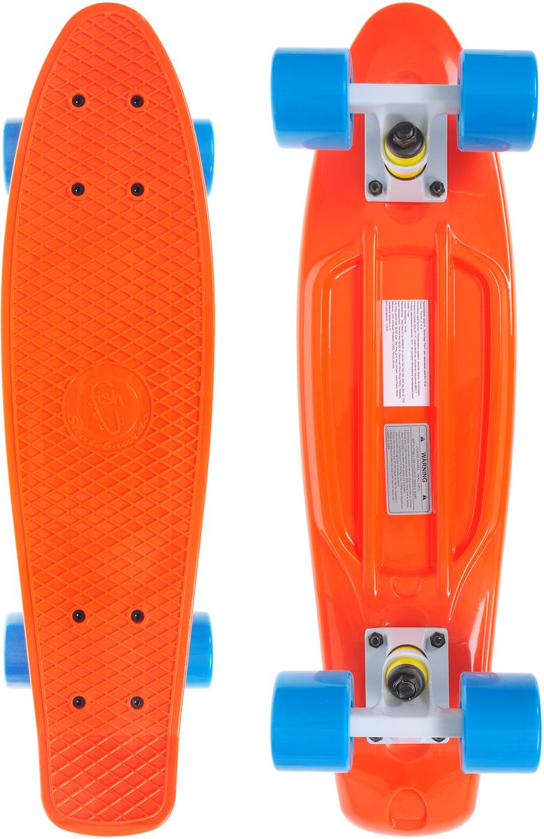 Скейтборд пластиковый Fish, цвет: оранжевый, голубой, дека 56 х 15 смTLS-401_O_W_BСкейтборд Fish подходит для начинающих райдеров. На нем можно кататься в парках, на улице, на площадках, с горок, вы можете добираться на нем до места работы или учебы. Несмотря на небольшие размеры, пенни развивает большую скорость и отлично лавирует. Доска имеет небольшую длину и маленький вес, поэтому ее можно убрать в рюкзак или сумку или нести в руках. Дека выполнена из высококачественного прочного пластика. Специальный выпуклый рисунок в виде сетки предотвращает скольжение ноги по ее поверхности. Подвеска выполнена из прочного алюминия. Полиуретановые колеса обеспечивают хорошее сцепление с поверхностью, быстрый разгон и торможение. Максимальная нагрузка: 100 кг. Диаметр колеса: 6 см. Ширина колеса: 4,5 см.