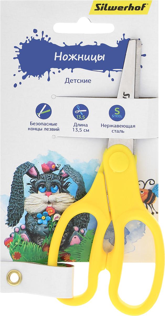 Silwerhof Ножницы детские Пластилиновая коллекция цвет желтый 13,5 см453079_желтыйДетские ножницы Silwerhof Пластилиновая коллекция прекрасно подойдут для детского творчества. Лезвия выполнены из высокоуглеродистой стали с закругленными концами, что делает процесс работы с ними безопасным для ребенка. Благодаря эргономичной рукоятке ножницы удобно лежат в маленьких детских ручках. Ножницы хорошо справляются с резкой бумаги и картона. Практичная модель станет незаменимым аксессуаром для вашего ребенка во время уроков. Предназначены для детей от трех лет.