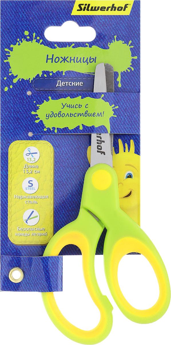 Silwerhof Ножницы детские Джинсовая коллекция цвет салатовый желтый 13,2 см453086_салатовый, желтыйДетские ножницы Silwerhof Джинсовая коллекция прекрасно подойдут для детского творчества. Лезвия выполнены из нержавеющей стали с закругленными концами, что делает процесс работы с ними безопасным для ребенка. Благодаря резиновым вставкам на кольцах ножницы не будут давить на пальцы и натирать. Ножницы хорошо справляются с резкой бумаги, картона и станут незаменимым помощником в процессе создания аппликаций и других поделок.
