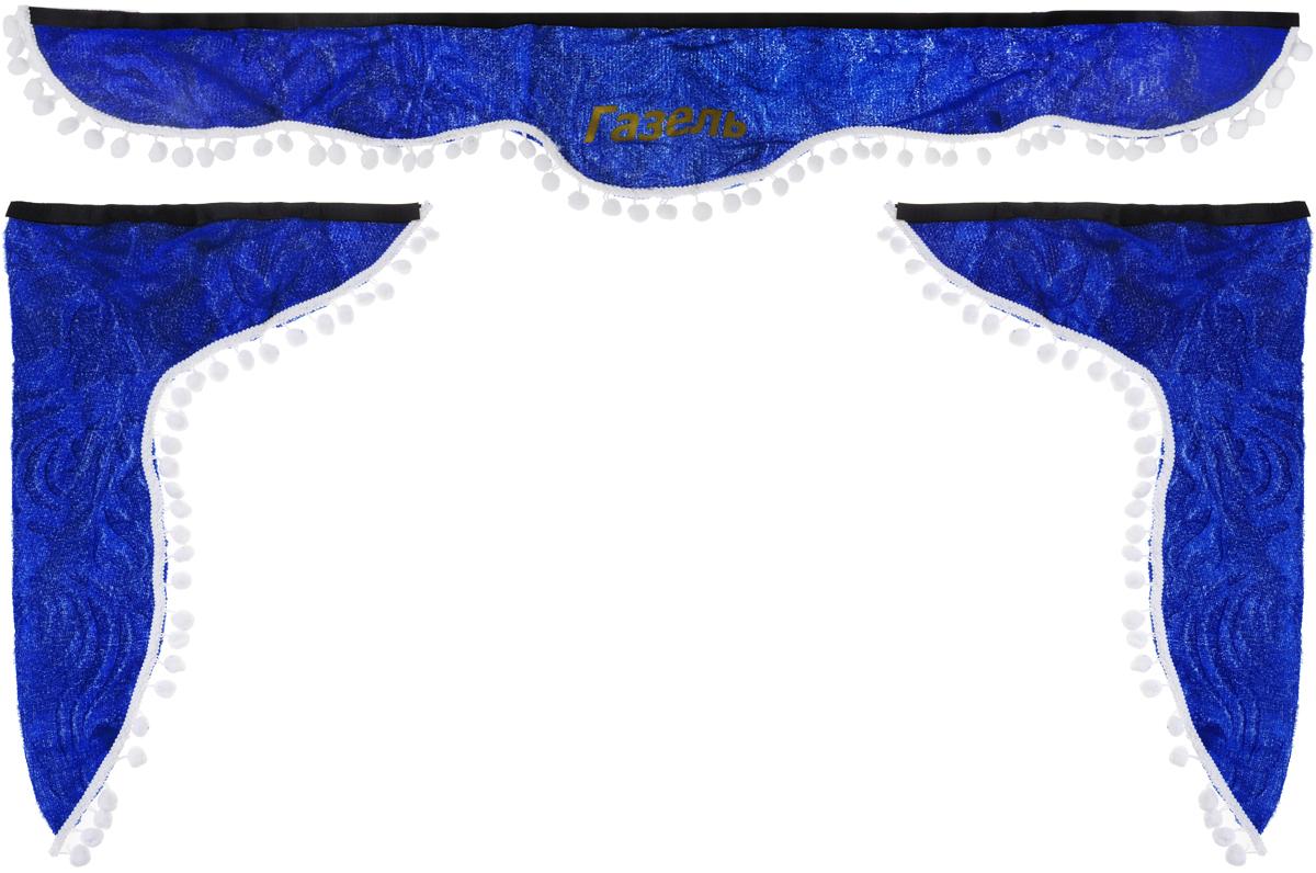 Ламбрекен для автомобильных штор Главдор, на Газель, цвет: синий, белыйGL-195_синий,белые шарикиЛамбрекен для автомобильных штор Главдор изготовлен из бархатистого текстиля, оформлен надписью Газель и декорирован кисточками по всей длине. Ламбрекен фиксируется при помощи липучек в верхней области лобового стекла и по сторонам боковых стекол. Такой аксессуар защитит от солнечных лучей и добавит уюта в интерьер салона. Размер ламбрекена на лобовое стекло: 140 х 20 см. Размер ламбрекена на боковое стекло: 60 х 45 см.