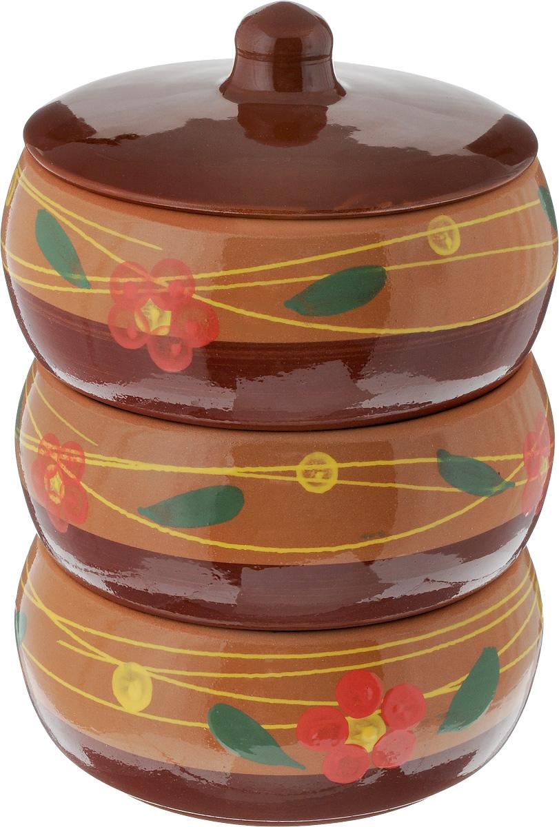 Набор блюд для холодца Борисовская керамика Русский, с крышкой, цвет: коричневый, светло-коричневый, розовый, 2,7 л, 3 штОБЧ00000911_цветок розовыйБлюда для холодца Борисовская керамика Русский, изготовленные из высококачественной керамики, предназначены для приготовления и хранения заливного или холодца. В комплект входит керамическая крышка. Также блюда можно использовать для приготовления и хранения салатов. Изделия оформлены оригинальным рисунком. Такие блюда украсят сервировку вашего стола и подчеркнут прекрасный вкус хозяйки. Диаметр блюд: 15,5 см. Высота блюд: 8 см. Объем блюд: 2,7 л.