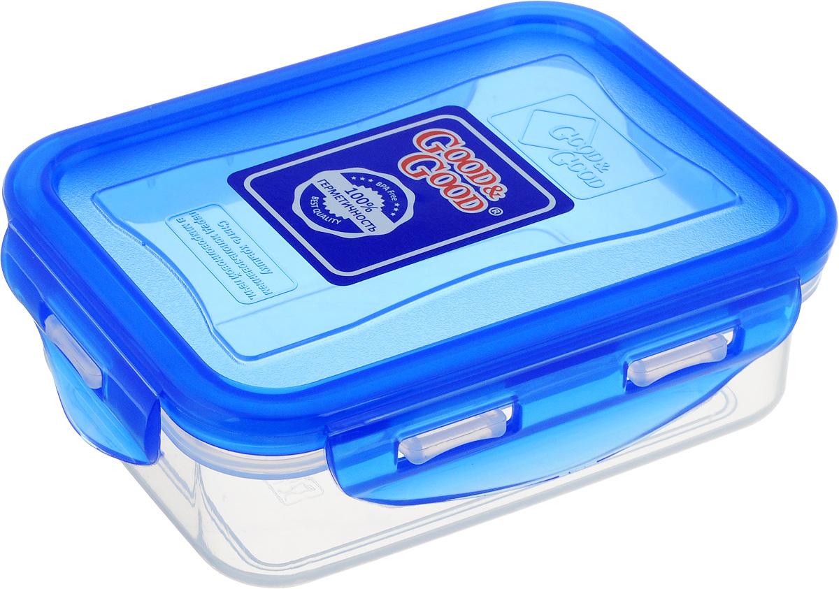 Контейнер пищевой Good&Good, цвет: прозрачный, синий, 0,33 лB/COL 02-1Прямоугольный контейнер Good&Good изготовлен из высококачественного полипропилена и предназначен для хранения любых пищевых продуктов. Благодаря особым технологиям изготовления, лоток в течение времени службы не меняет цвет и не пропитывается запахами. Крышка с силиконовой вставкой герметично защелкивается специальным механизмом. Контейнер Good&Good удобен для ежедневного использования в быту. Можно мыть в посудомоечной машине и использовать в микроволновой печи. Размер контейнера (с учетом крышки): 13 х 10 х 4,5 см.
