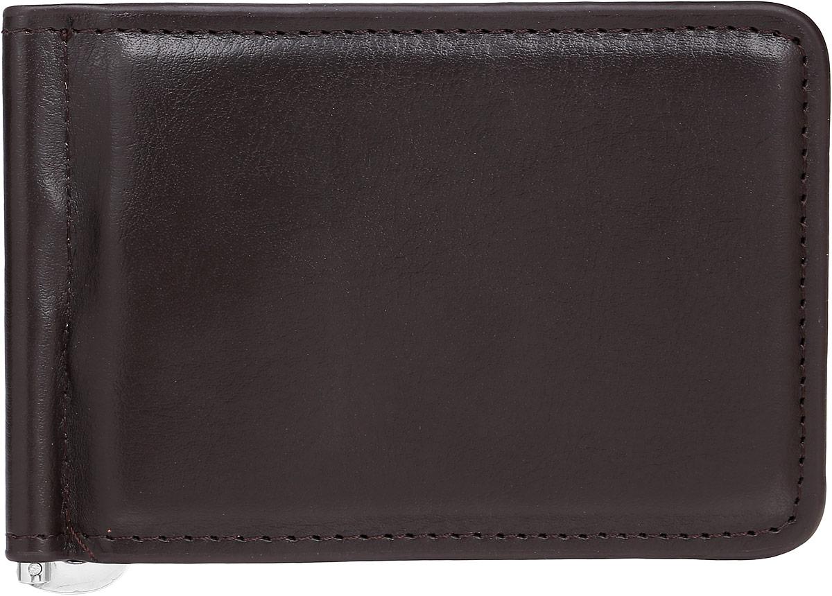 Зажим для купюр мужской Leighton, цвет: коричневый. 739739 brownМужской зажим для купюр Leighton выполнен из искусственной кожи. Закрывается изделие с помощью встроенного магнита. Внутри карман для пластиковой карточки, снаружи карман на кнопке.
