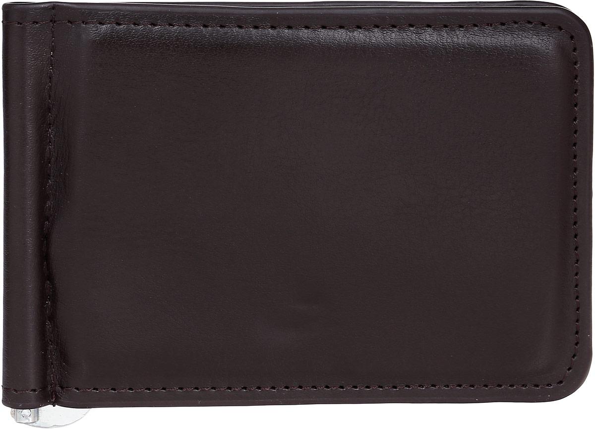 Зажим для купюр мужской Leighton, цвет: темно-коричневый. 736736 brownМужской зажим для купюр Leighton выполнен из искусственной кожи. Закрывается изделие с помощью встроенного магнита. Внутри модель имеет карман для пластиковой карточки, снаружи карман на молнии.