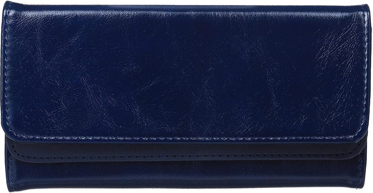 Кошелек женский Leighton, цвет: темно-синий. 725725 blueСтильный женский кошелек Leighton выполнен из искусственной кожи и закрывается на кнопку. Подкладка кошелька изготовлена из полиэстера. Изделие содержит три отделения для купюр, один потайной карман, карман для мелочи на молнии, двенадцать карманов для пластиковых карточек.