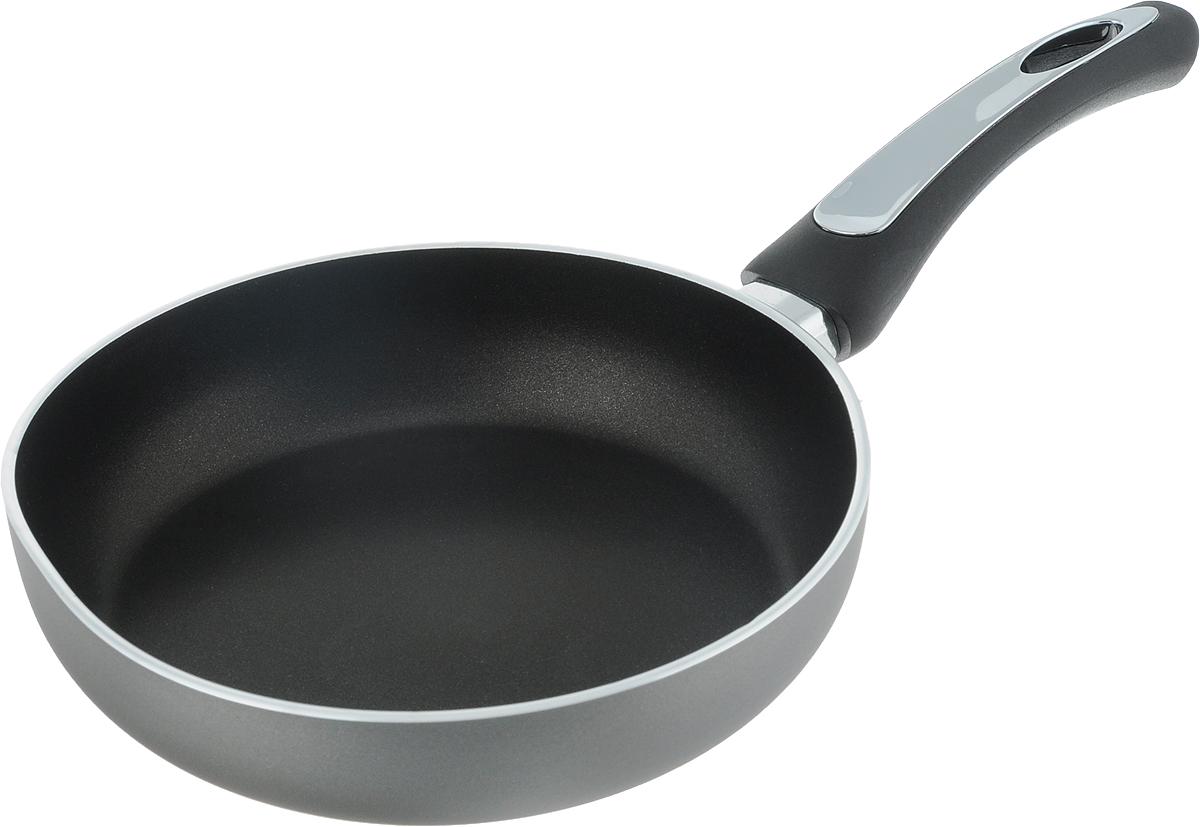 Сковорода Scovo President, с антипригарным покрытием. Диаметр 20 смSP-001Сковорода Scovo President выполнена из алюминия и имеет антипригарное покрытие. Покрытие исключает прилипание и пригорание пищи к поверхности посуды, обеспечивает легкость мытья посуды, исключает необходимость использования большого количества масла, что способствует приготовлению здоровой пищи с пониженной калорийностью. Сковорода оснащена пластиковой ручкой, благодаря чему она удобно уместится в руке и не выскользнет. Сковорода подходит для газовых, электрических и стеклокерамических плит. Также ее можно мыть в посудомоечной машине. Диаметр сковороды: 20 см. Высота стенки: 4,5 см. Длина ручки: 16 см.