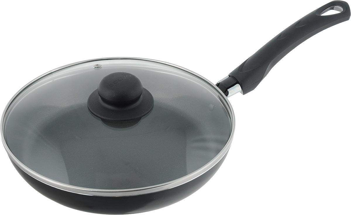 Сковорода Scovo Consul с крышкой, с антипригарным покрытием. Диаметр 24 смRC-009Сковорода Scovo Consul выполнена из алюминия с антипригарным покрытием. Такое покрытие исключает прилипание и пригорание пищи к поверхности посуды, обеспечивает легкость мытья посуды, исключает необходимость использования большого количества масла, что способствует приготовлению здоровой пищи с пониженной калорийностью. Сковорода безопасна для здоровья, так как не содержит PFOA, соединений свинца и кадмия. Изделие оснащено удобной пластиковой ручкой. Крышка, выполненная из термостойкого стекла, позволяет следить за процессом приготовления без потери тепла. Специальное отверстие для выхода пара предотвращает выкипание. Сковорода подходит для газовых, электрических и стеклокерамических плит. Можно мыть в посудомоечной машине. Длина ручки: 18,5 см. Высота стенки: 4 см.