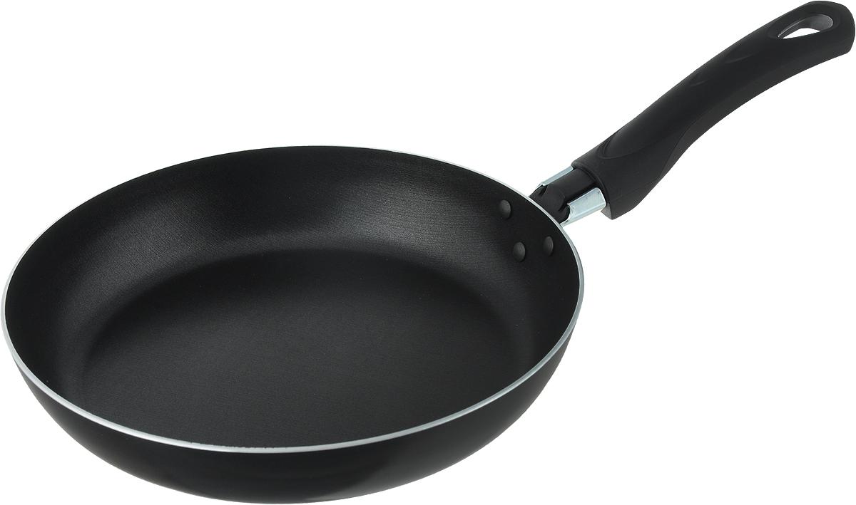 Сковорода Scovo Consul, с антипригарным покрытием. Диаметр 22 смRC-002Сковорода Scovo Consul выполнена из алюминия с антипригарным покрытием. Такое покрытие исключает прилипание и пригорание пищи к поверхности посуды, обеспечивает легкость мытья посуды, исключает необходимость использования большого количества масла, что способствует приготовлению здоровой пищи с пониженной калорийностью. Сковорода безопасна для здоровья, так как не содержит PFOA, соединений свинца и кадмия. Изделие оснащено удобной пластиковой ручкой. Сковорода подходит для газовых, электрических и стеклокерамических плит. Можно мыть в посудомоечной машине. Длина ручки: 15,5 см. Высота стенки: 4 см.