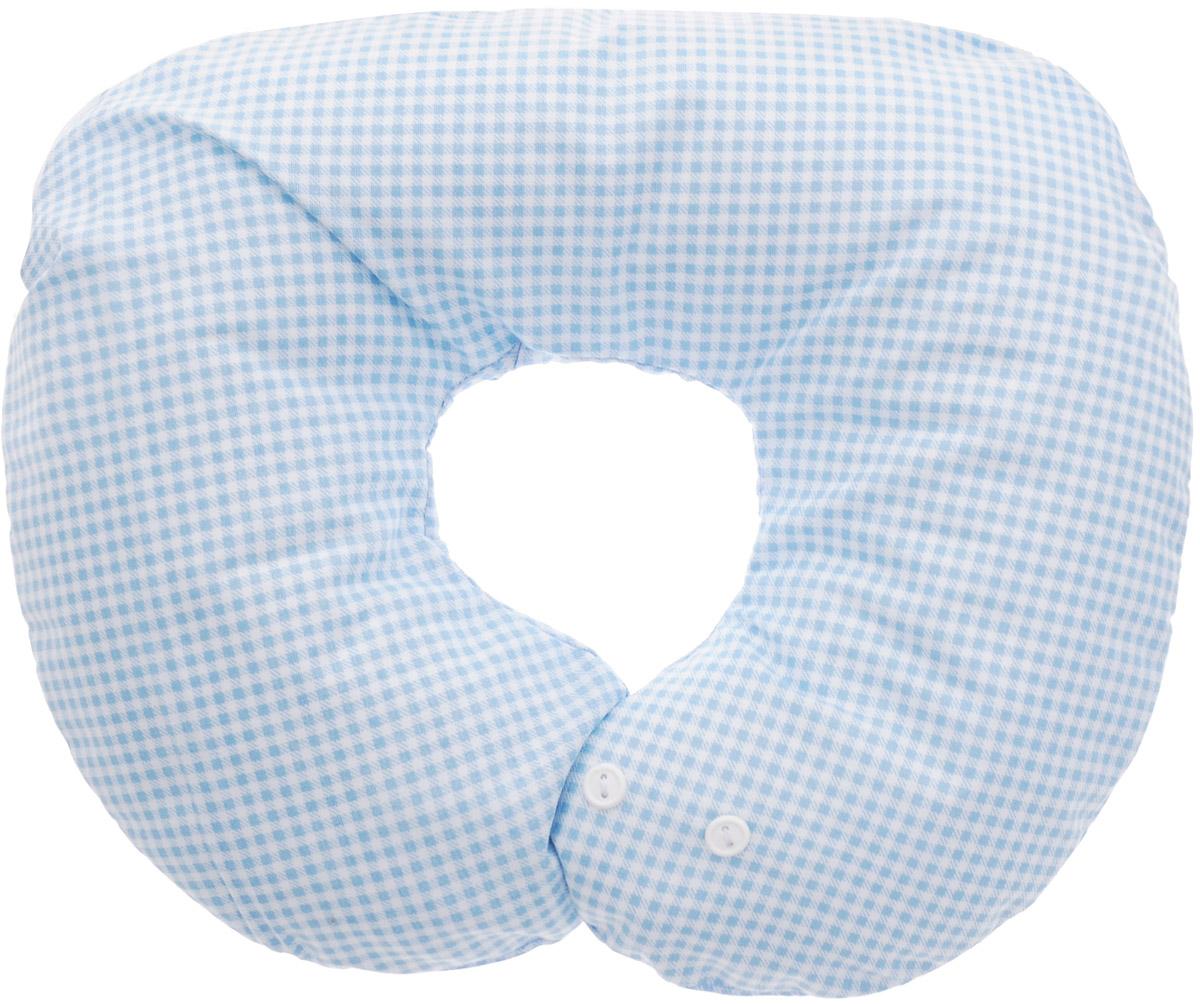 Selby Подушка-воротник для младенца Мишки цвет светло-голубой клетка 30 х 25 см