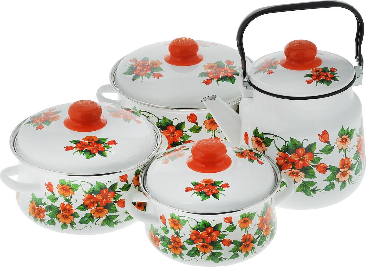 Набор посуды Эмаль Забава, цвет: белый, оранжевый, зеленый, 8 предметов7-306/6Набор посуды Эмаль Забава состоит из 3 кастрюль разного объема, 3 крышек и чайника. Изделия выполнены из качественной эмалированной стали. Эмаль защищает сталь от коррозии, придает посуде гладкую поверхность и надежно защищает от кислот и щелочей. Эмаль устойчива к пищевым кислотам, не вступает во взаимодействие с продуктами и не искажает их вкусовые качества. Прочный стальной корпус обеспечивает эффективную тепловую обработку пищевых продуктов и не деформируется в процессе эксплуатации. Внешняя поверхность изделий оформлена красочным изображением. Кастрюли и чайник снабжены стальными крышками с удобными пластиковыми ручками. Чайник имеет прочную подвижную металлическую ручку. Посуда подходит для газовых, электрических, стеклокерамических и индукционных плит. Объем кастрюль: 2 л; 3 л; 4 л. Диаметр кастрюль (по верхнему краю): 19 см; 21 см; 23 см. Ширина кастрюль (с учетом ручек): 24 см; 26 см; 28 см. Высота стенки...
