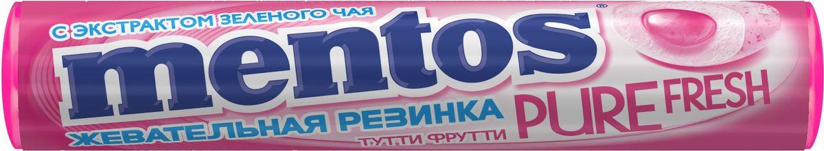 Mentos Pure Fresh Тутти-Фрутти жевательная резинка, 20 штук по 16 г8252934Любимая жевательная резинка Mentos Pure Fresh Тутти Фрутти - это неповторимый фруктовый микс с экстрактом зеленого чая. Тутти Фрутти - уникальная, удобная карманная упаковка в культовом формате для бренда Mentos - в формате ролла!