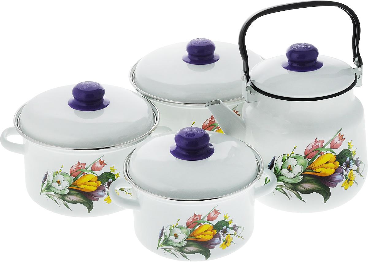 Набор посуды Эмаль Крокусы, 7 предметов2-3128/4Набор посуды Эмаль Крокусы состоит из 3 кастрюль разного объема, 3 крышек и чайника. Изделия выполнены из качественной эмалированной стали. Эмаль защищает сталь от коррозии, придает посуде гладкую поверхность и надежно защищает от кислот и щелочей. Эмаль устойчива к пищевым кислотам, не вступает во взаимодействие с продуктами и не искажает их вкусовые качества. Прочный стальной корпус обеспечивает эффективную тепловую обработку пищевых продуктов и не деформируется в процессе эксплуатации. Внешняя поверхность изделий оформлена красочным изображением. Кастрюли и чайник снабжены стальными крышками с удобными пластиковыми ручками. Чайник имеет прочную подвижную металлическую ручку. Посуда подходит для газовых, электрических, стеклокерамических и индукционных плит. Объем кастрюль: 2 л; 3 л; 4 л. Диаметр кастрюль (по верхнему краю): 19 см; 21 см; 23 см. Ширина кастрюль (с учетом ручек): 24 см; 26 см; 28 см. Высота стенки...