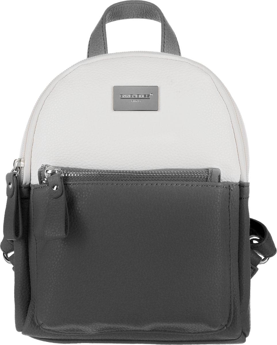 Рюкзак женский David Jones, цвет: черный. 75507-475507-4 BLACKРюкзак. Одно отделение, один карман, внешний карман на передней стенке (на молнии).