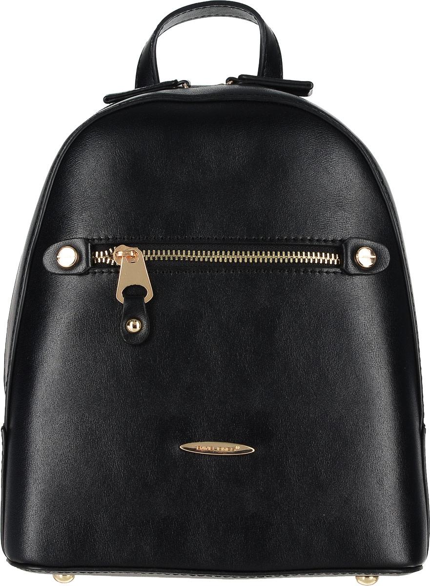 Рюкзак женский David Jones, цвет: черный. 5527-35527-3 BLACKСтильный женский рюкзак David Jones выполнен из экокожи и оформлен металлической фурнитурой с символикой бренда. Изделие содержит одно основное отделение, закрывающееся на застежку-молнию. Внутри расположены один накладной карман для мелочей и врезной карман на молнии. Лицевая сторона рюкзака дополнена прорезным карманом, который закрывается на застежку-молнию. Рюкзак оснащен удобными плечевыми лямками регулируемой длины, а также петлей для подвешивания. Дно изделия дополнено металлическими ножками.