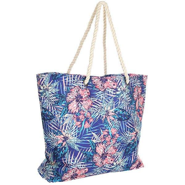 Сумка женская Roxy Printedtropical, цвет: голубой. ERJBT03049-PQF6ERJBT03049-PQF6Женская сумка Roxy выполнена из полиэстера. Модель с одним отделением и веревочными ручками.