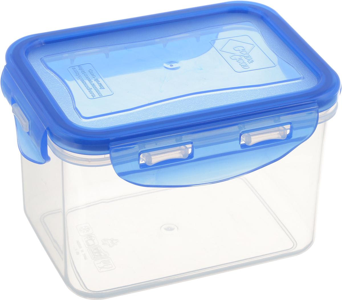 Контейнер пищевой Good&Good, цвет: прозрачный, синий, 630 мл. 02-2/BL02-2/BLПрямоугольный контейнер Good&Good изготовлен из высококачественного полипропилена и предназначен для хранения любых пищевых продуктов. Благодаря особым технологиям изготовления, лотки в течение времени службы не меняют цвет и не пропитываются запахами. Крышка с силиконовой вставкой герметично защелкивается специальным механизмом. Контейнер Good&Good удобен для ежедневного использования в быту. Можно мыть в посудомоечной машине и использовать в микроволновой печи. Размер контейнера (с учетом крышки): 13 х 9,5 х 8,5 см.
